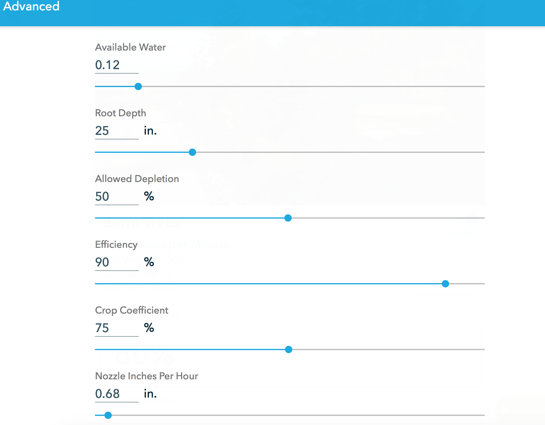 Advance Watering Calculations - Set Up & Edit Zones - Rachio