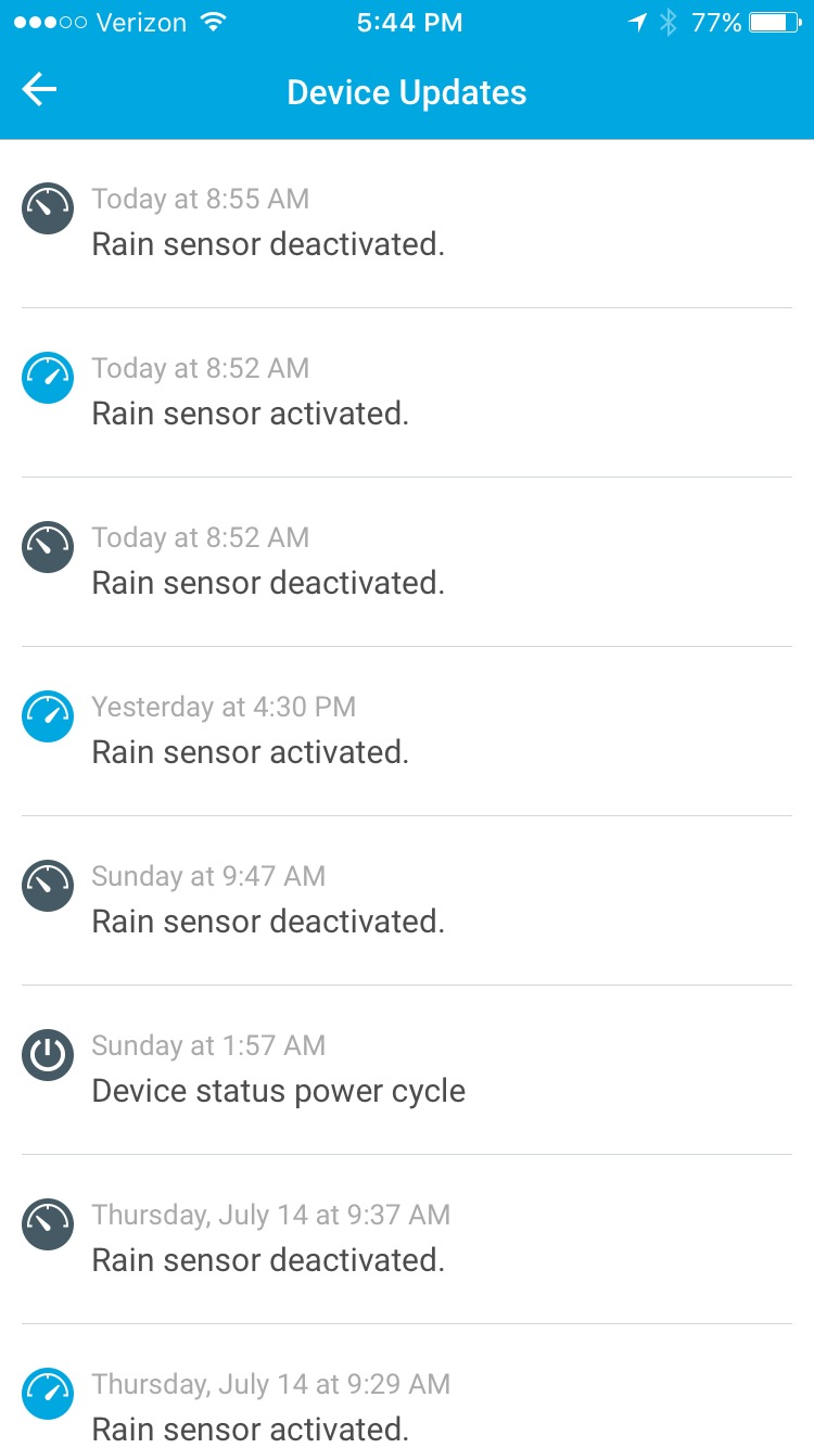 Rain Sensor Notification Archive Rachio Community How To Build Detector As You Can See From Todays Log Device Updates The Entries On App Also Thursday July 14th Was Tripped